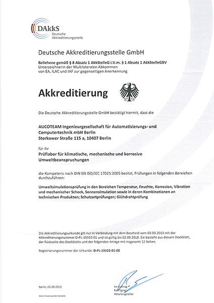 Akkreditierungsurkunde der DAkkS