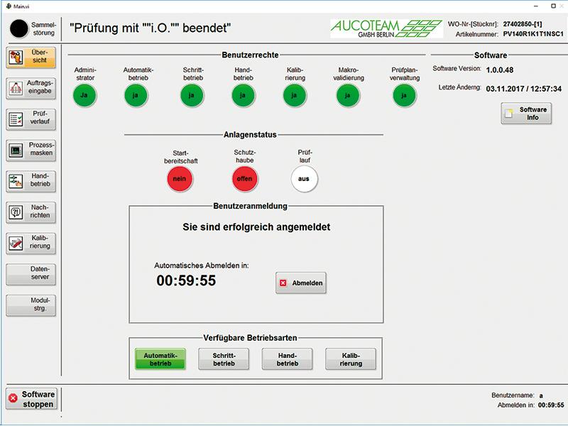 Bedienoberfläche Prüfstandssoftware