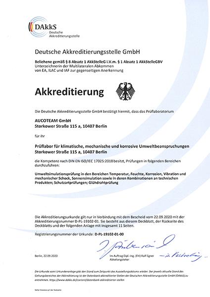 DAkkS-Akkreditierung AUCOTEAM-Prüflabor
